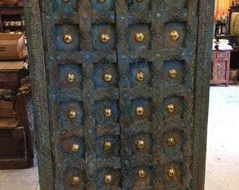 Antique Distressed Blue Brass Patina Floral Chakra Grooved Armoire , Cupboard, Wardrobe Mediterranean Design Decor