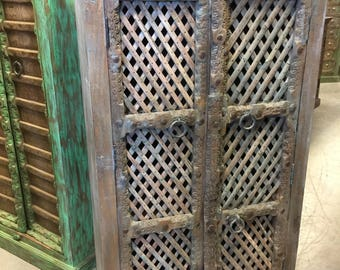 Antique Brown Blue Armoire With Open wooden Jali Design Storage Cabinet Furniture Spanish Shabby Chic Rustic Luxe