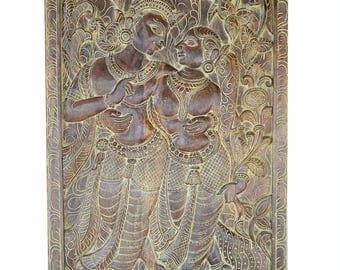 Antique Vintage Hand Carved Krishna Radha Carving Barn Door, Spritual Love Haveli Decor