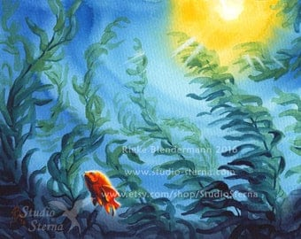Original painting watercolor 24 x 18 cm 9.4 x 7inch fish unframed animal nature ocean water sea blue orange Garibaldi series 4 kelp children