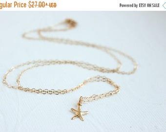 Tiny Gold Starfish Necklace, starfish necklace, beach wedding,