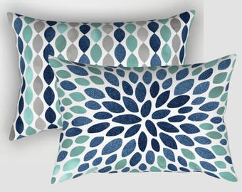 Lumbar Pillow, Turquoise Denim Navy and Grey, Lumbar Pillows, Available in four sizes.