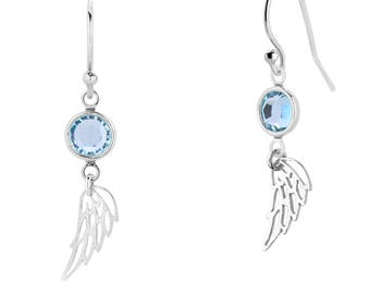 Angel Wing Earrings, Sterling Silver Wing Earrings, Birthstone Earrings, Dangle Earrings, Wing Charm Earrings, Birthstone Gift, Gift for Her
