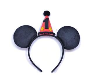 Boy Mickey Ears No Glitter  || Minnie Birthday Ears || Mini Hat || First Birthday Outfit || Minnie Ears || Disney Any Age Birthday Outfit |