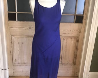Diane Von Furstenberg blue silk bias cut slip dress size 10