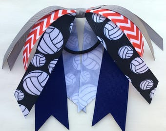Red, navy, and gray volleyball streamers, team hair bows, ponytail ribbon, silver, red, and blue hair streamer, choose your sport