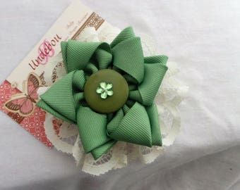 Green Hair Bow - Dressy Green Hair Bow - Hair Clip