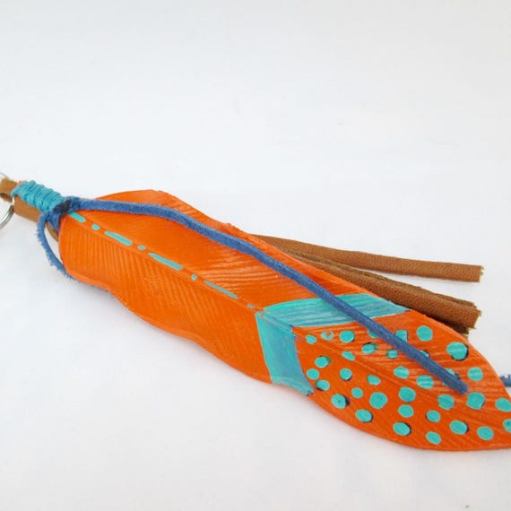 Leather Feather Key Chain in Orange and Turquoise