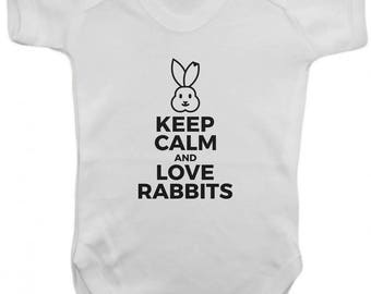Keep Calm and Love Rabbits -Baby Bodysuit -  Vest,Baby Grow,,Baby One Piece,Baby Clothes,Bodysuit, 100% Cotton - Silkscreen