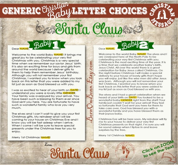 baby santa letter from santa claus with a christian or