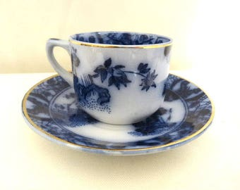 Flow Blue Demitasse made in Portugal by Sacavem