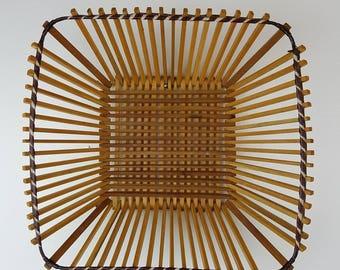 Vintage Small Woven Wood Basket / Wall Basket / Bohemian Boho Storage Basket