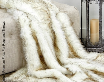 Plush  Faux Fur Throw Blanket, Soft  Brown Tip Arctic Wolf Shag Bedspread - Luxury Fur - Minky Cuddle Fur Lining Fur Accents USA