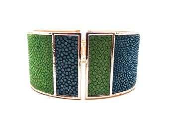 Turquoise and green Stingray leather bracelet