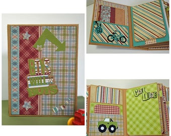 Handmade Scrapbook Photo Mini Album - Boys Will Be Boys - Ready to Ship, Places to Hold over 50 Family Photos