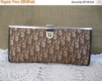 20% OFF SUMMER SALE Vintage Christian Dior brown tapestry long clutch signature logo