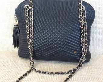 20% SUMMER SALE Genuine vintage BALLY black quilted leather shoulder bag chain link with tassel