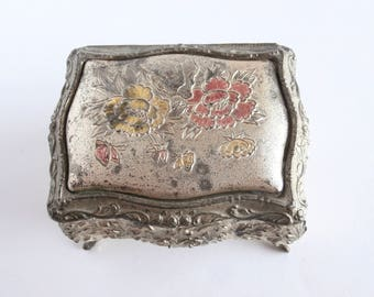 French Jewelry Box - Silver Plated - Metal Box - Vintage - Shabby - Trinket Box