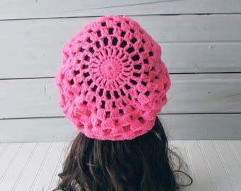Pink Ladies Teen Super Slouchy Beret Beanie Hand Crocheted Ladies Teen Fashion Hat