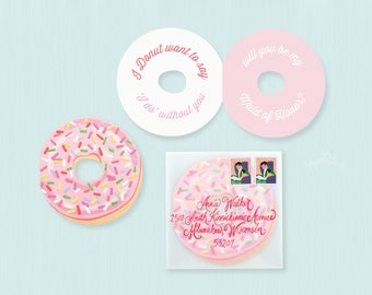 Will You Be My Maid of Honor Card, Donut Maid of Honor Card, I Donut Want to Say I Do Without You, Ask Bridesmaids, Maid of Honor Proposal