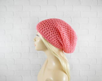 Tropical Pink Beanie, EXTRA Slouchy Beanie, Slouch Hat, Large Hat, Vegan Hat, Womens Slouchy Hat, Baggy Winter Hat, Oversized Beanie