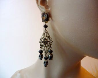 Gothic, chic, Clip-on Earrings rock shard skulls
