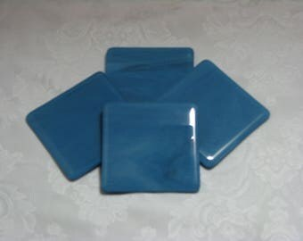 Mariner Blue 4X4 Fused Glass Coasters - Set of 4