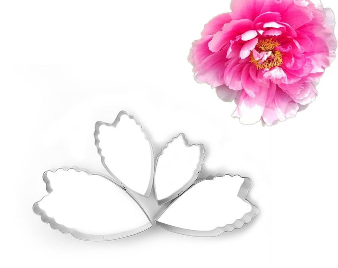 4 pc Peony Cookie Cutter - C-2035 - Party Biscuit Fondant Sugar Cutter Flower Garden Spring