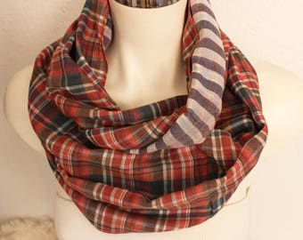 Red navy plaid scarf, Red black scarf, Male cotton scarf, Handmade scarves, Men's plaid scarf, Double sided scarf, Men's Christmas gift