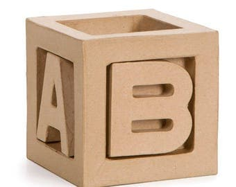 Paper Mache Baby Block ABC Alphabet - Unfinished ABC Block with Open Top 5""
