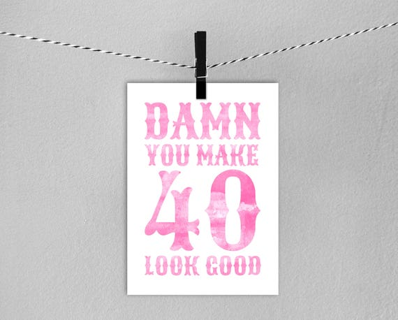 40th Birthday Card Instant Download Printable Pink 40th Birthday