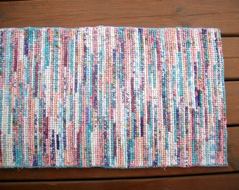 Rag rug, hooked rug, accent rug, throw rug, cotton rug, pastel rug