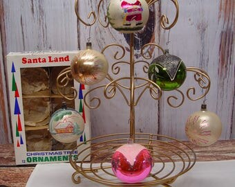 Set of 6 Vintage Christmas Ornaments, Glass Ornaments, Hand Painted, Glitter, Vintage Christmas
