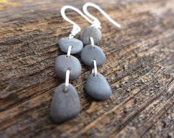 Triple Pebble Beach Stone  Earrings