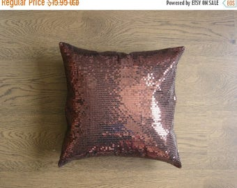 ON SALE Throw Pillow Cover - Brown Metallic Sequins Embroidered on Brown Art Dupioni Fabric Pillow Case - 16 X 16 inches - rd3