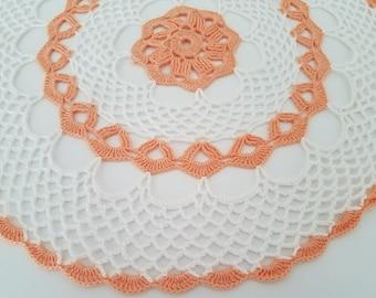 Handmade crochet doily, white and light orange 12.5, spring doily, Easter doily