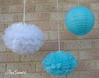 Aqua Blue White Pom Poms & Paper Lanterns for Wedding Engagement Anniversary Birthday Party Bridal Baby Shower Decoration