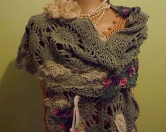 UpCycled and Fabulous Bohemian Shawl Gypsy Chic  Ready to Ship With FREE USA Shipping