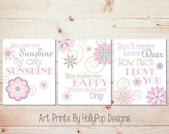 Baby Girl Nursery Decor You are My Sunshine Pink Purple Nursery Art Girls Room Wall Art Floral Quad Print Set Baby Girl Nursery Decor #0597