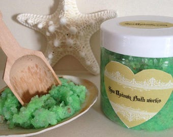 Organic CUCUMBER MELON- SPA care Foot scrub with Dead Sea Salt, Handmade, Vegan.