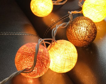 Mixx Brown Cotton Ball Lights for Chirtsmas and  for home decoration,wedding patio,indoor string lights,bedroom fairy lights,20 Bulbs