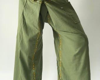 F80023 Hand Stitch Thai Fisherman Pants Wide Leg pants, Wrap pants, Unisex pants