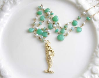 Mermaid Necklace ~ Chrysoprase & Pearl Rosary Necklace ~  Gold Mermaid Pendant ~ Beach Necklace ~ Gemsotne Necklace ~ Beach Wedding