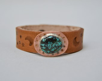 Turquoise Stars Copper Leather Bracelet. Boho. South Western Design. Cowgirl . Bracelet. Boho . By Nin and Bumm