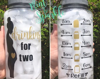 Drinking for two motivational water bottle with hourly time tracker