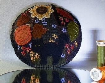 Handmade Black Cat Autumn Garden Felted Wool Embroidered Crazy Patchwork Pincushion
