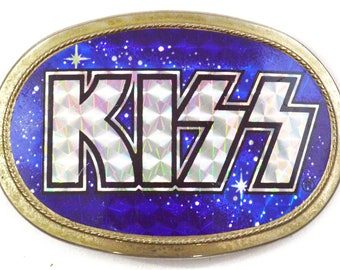 Vintage 70s KISS Pacifica Manufacturing Belt Buckle Prism Space Logo