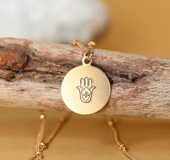 Hamsa necklace / hand stamped hamsa necklace / delicate gold layering necklace / gold disc necklace