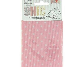 Coupon fusible fabric 21 x 29, 7cm in pink with white polka dots