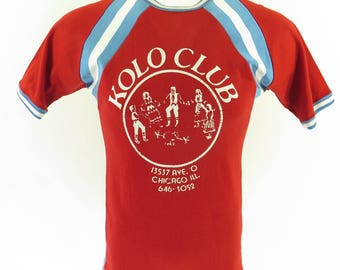 Vintage 70s Durene T-Shirt Mens M USA Made Kolo Club Red Branko 1976 [H79U_0-12]